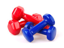 Red and blue dumbbells Stock Image