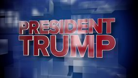 Dynamic President Trump News Title Page. A red and blue dynamic 3D President Trump news title page animation stock video footage
