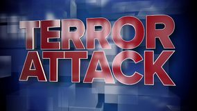 Dynamic terror attack title page background plate. A red and blue dynamic 3D Terror Attack title page background animation stock illustration