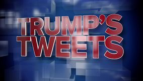 Dynamic Trump Tweets News Title Page. A red and blue dynamic 3D Trump`s Tweets news title page animation stock video