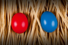 Red and blue Easter Egg. Royalty Free Stock Images