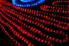 Red and blue electrical garland. Decoration Royalty Free Stock Photo