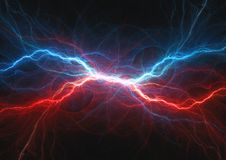 Red and blue electrical lightning. Fire and ice plasma vector illustration