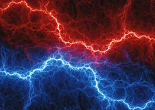 Red and blue electrical lightnings. Stock Photography