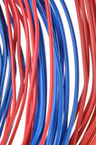 Red and blue electrical power cables Royalty Free Stock Photos