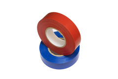 Red and blue electrical tape Stock Photo