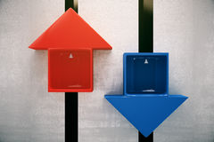 Red and blue elevators Stock Image