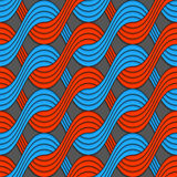 Red and blue embossed interlocking wavy lines Royalty Free Stock Images