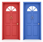 Red and blue entrance door Royalty Free Stock Photo