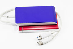 Red and blue external hard disk isolated on white background isolated on white background Stock Photo