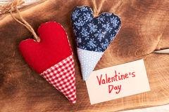 Red and blue fabric hearts. Stock Photo