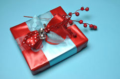 Red and blue festive present gifts Stock Photo