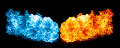 Red and blue fire on balck background Royalty Free Stock Image