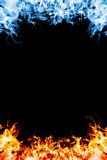 Red and blue fire. Red and blue fire frame on balck background Stock Photo