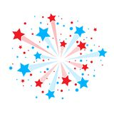 Red and blue firework. Big red and blue firework isolated on white background Royalty Free Stock Photo