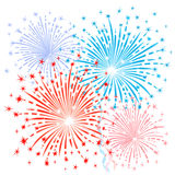 Red blue fireworks. Expressive vector fireworks in red and blue on a white background Stock Images