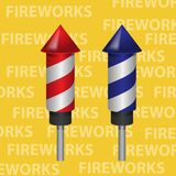 Red and blue fireworks rocket. Elements of design. vector image stock illustration