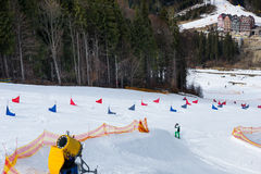 Red and blue flags on ski descents during competitions on a sunn. Y day in winter period in a ski-resort Royalty Free Stock Photography