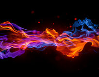 Red and Blue flame joining. Red and blue flame combined into one with an added sparkle and stain effect Royalty Free Stock Image