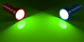 Red and blue flashlight lighting the green surface Royalty Free Stock Photo