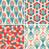 Red blue floral patterns Royalty Free Stock Photos