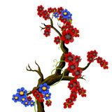 Red and blue flouwers on a branch Stock Photos