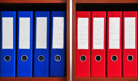 Red and blue folders Royalty Free Stock Photo
