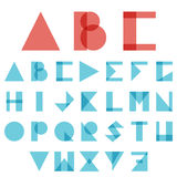 Red and blue font, ABC in geometric style. Vector. Red and blue creative font, ABC, alphabet in geometric style, logo on white background. Vector Stock Images