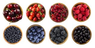 Red and blue food. Berries and fruits isolated on white background. Collage of different fruits and berries at green and red color stock image