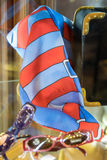 Red and blue foulard exposed in a boutique. Red and blue foulard exposed in an Italian boutique Royalty Free Stock Image