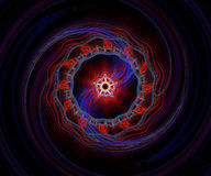 Red And Blue Fractal Spiral. Red and blue colors dominant Royalty Free Stock Images
