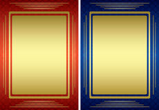 Red and blue frames with golden decoration - eps Royalty Free Stock Photo