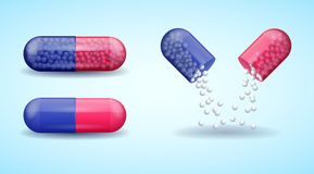 Red and blue full medical pill capsule with molecules. Red and blue full medical pill, broken medicine capsule with molecules, vector illustration stock illustration