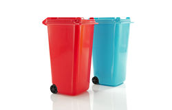 Red and blue  garbage bin Stock Photography
