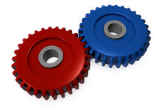 Red and blue gears Stock Photography