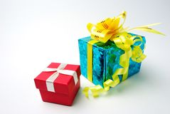Red and blue gift boxes Royalty Free Stock Image