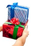 Red and blue gifts boxes Stock Image