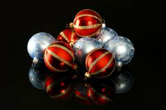 Red and blue glass ornament Stock Images