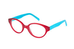 Red-blue glasses on white background. Pair of glasses on perfect white background Stock Photos