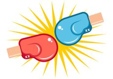 Red and blue gloves. Vector retro icons for a boxing with two gloves. Retro emblem for boxing with red and blue gloves Royalty Free Stock Images