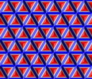 Red blue gray pyramid. vector seamless pattern with triangles. 3d. Geometric background. visual illusion Stock Photos