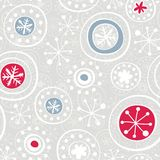 Red blue gray snowflakes on gray Stock Photos