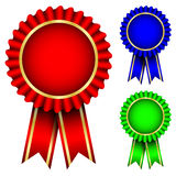 Red, blue & green badges Royalty Free Stock Photos