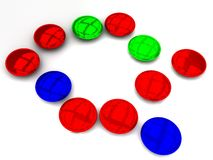 Red blue green beads Royalty Free Stock Images