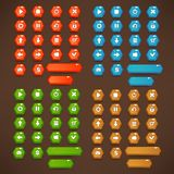 Red, blue, green and brown, Mobile Game UI, vector collection of. Bright, shine and cartoon icons, and buttons Royalty Free Stock Photo