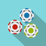 Red, blue and green casino tokens flat icon Stock Photo