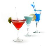 Red, blue and green  cocktails Royalty Free Stock Image