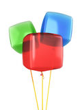 Red blue green cube balloons Stock Photos