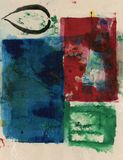 Red Blue And Green Design On Beige Textures Abstract Painting stock illustration