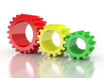 Red, blue and green gears Stock Photography